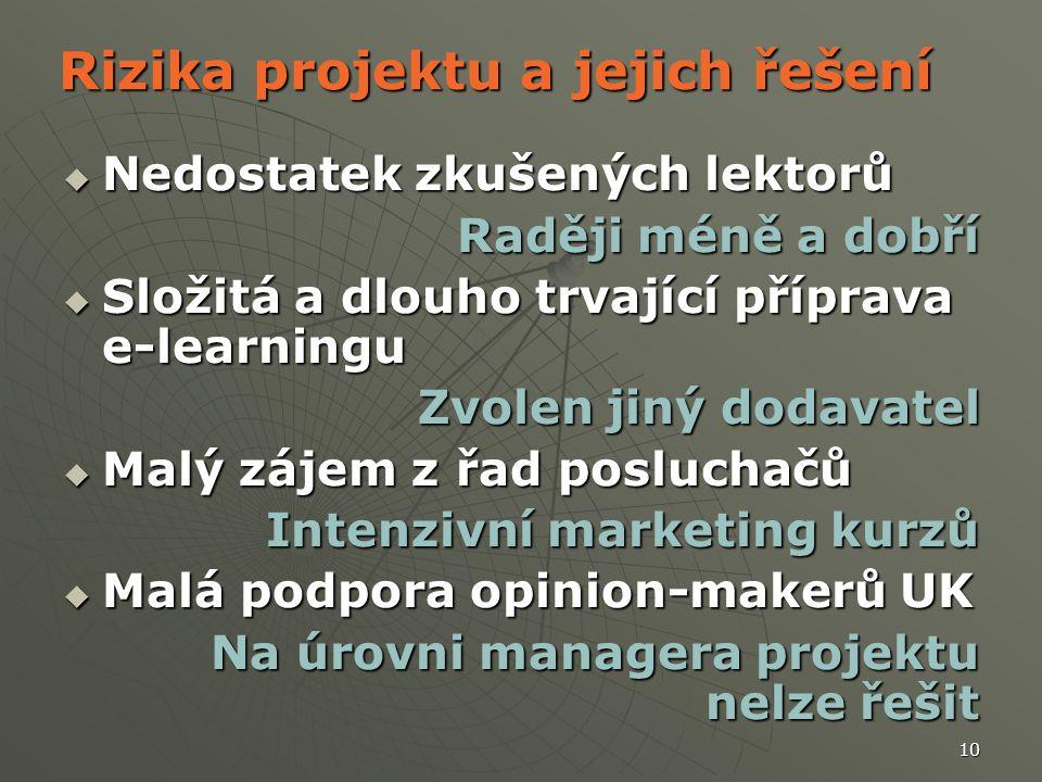 10 Rizika projektu a jejich řešení  Nedostatek zkušených lektorů Raději méně a dobří  Složitá a dlouho trvající příprava e-learningu Zvolen jiný dod