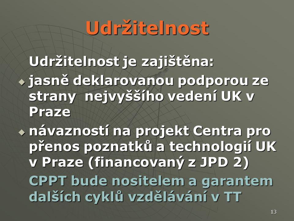 13 Udržitelnost Udržitelnost je zajištěna:  jasně deklarovanou podporou ze strany nejvyššího vedení UK v Praze  návazností na projekt Centra pro pře