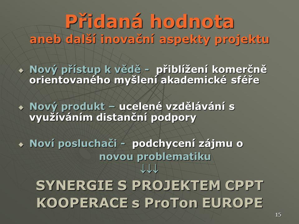 15 Přidaná hodnota aneb další inovační aspekty projektu  Nový přístup k vědě - přiblížení komerčně orientovaného myšlení akademické sféře  Nový produkt – ucelené vzdělávání s využíváním distanční podpory  Noví posluchači - podchycení zájmu o novou problematiku novou problematiku SYNERGIE S PROJEKTEM CPPT KOOPERACE s ProTon EUROPE