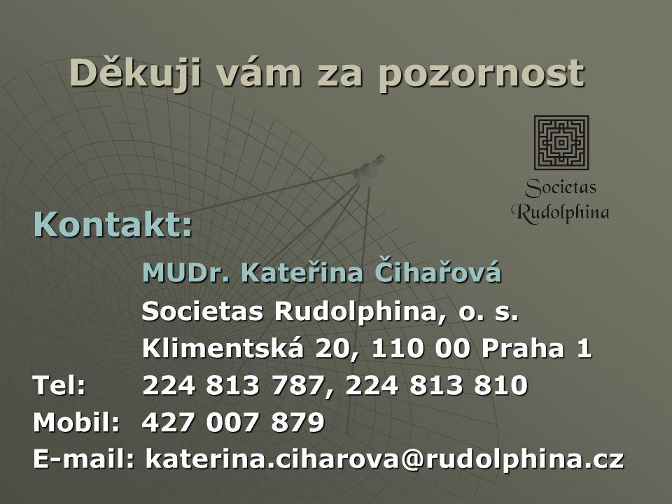 Děkuji vám za pozornost Kontakt: MUDr. Kateřina Čihařová Societas Rudolphina, o. s. Klimentská 20, 110 00 Praha 1 Tel: 224 813 787, 224 813 810 Mobil: