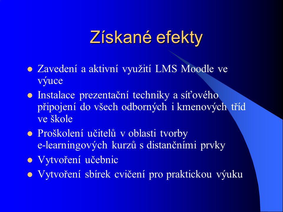 Získané efekty Zavedení a aktivní využití LMS Moodle ve výuce Instalace prezentační techniky a síťového připojení do všech odborných i kmenových tříd
