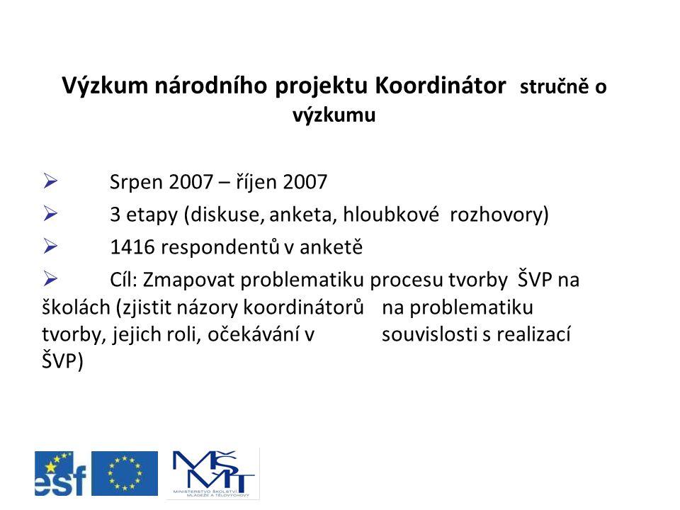 Výzkum národního projektu Koordinátor stručně o výzkumu  Srpen 2007 – říjen 2007  3 etapy (diskuse, anketa, hloubkové rozhovory)  1416 respondentů