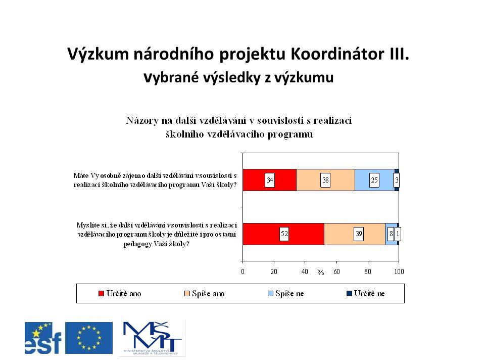 Výzkum národního projektu Koordinátor III. v ybrané výsledky z výzkumu
