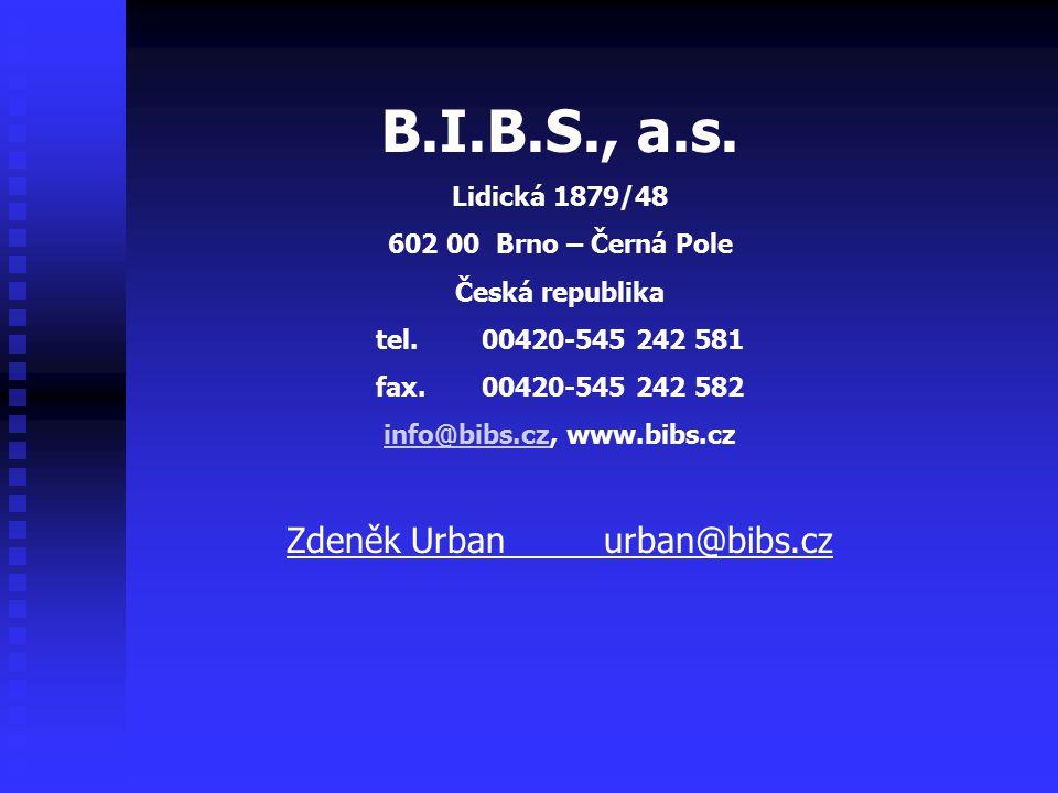 B.I.B.S., a.s. Lidická 1879/48 602 00 Brno – Černá Pole Česká republika tel. 00420-545 242 581 fax. 00420-545 242 582 info@bibs.czinfo@bibs.cz, www.bi