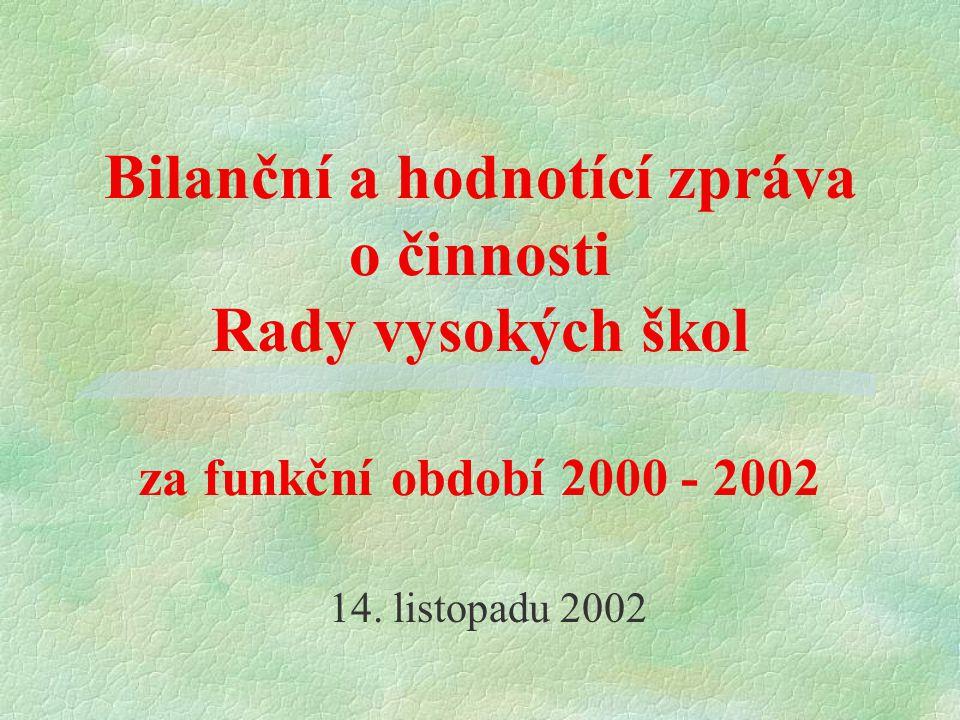 Bilanční a hodnotící zpráva o činnosti Rady vysokých škol za funkční období 2000 - 2002 14. listopadu 2002