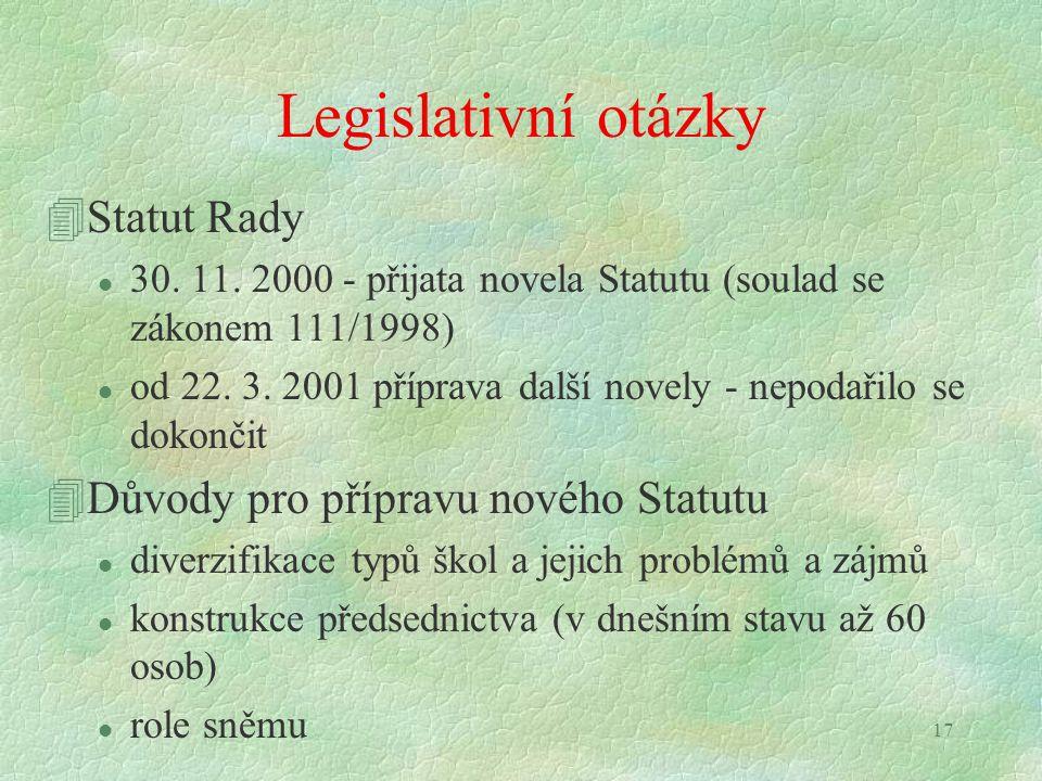 17 Legislativní otázky 4Statut Rady l 30. 11. 2000 - přijata novela Statutu (soulad se zákonem 111/1998) l od 22. 3. 2001 příprava další novely - nepo