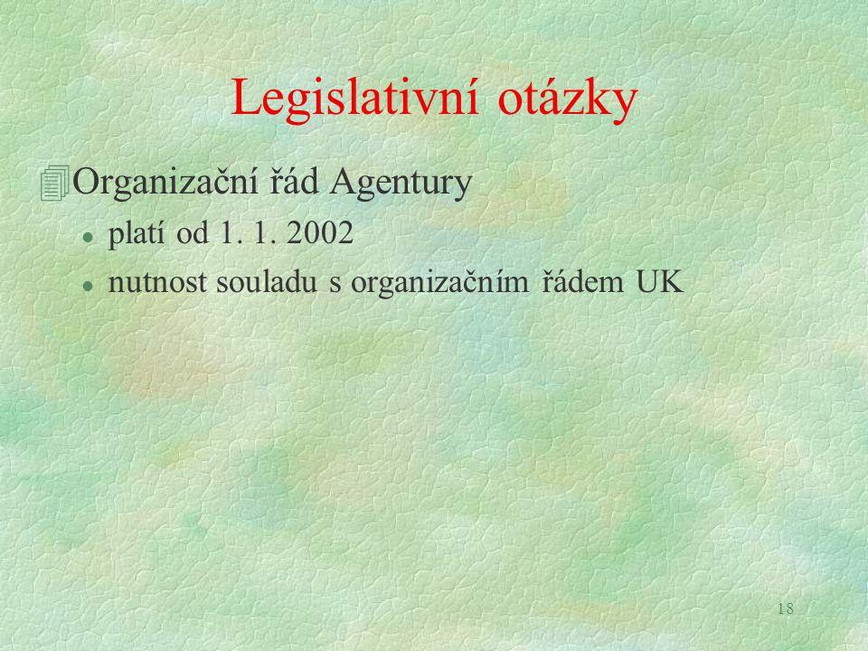 18 Legislativní otázky 4Organizační řád Agentury l platí od 1. 1. 2002 l nutnost souladu s organizačním řádem UK