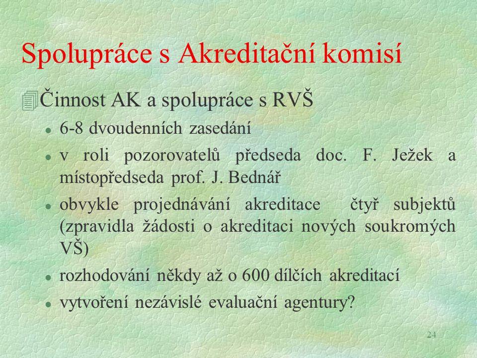 24 Spolupráce s Akreditační komisí 4Činnost AK a spolupráce s RVŠ l 6-8 dvoudenních zasedání l v roli pozorovatelů předseda doc. F. Ježek a místopředs