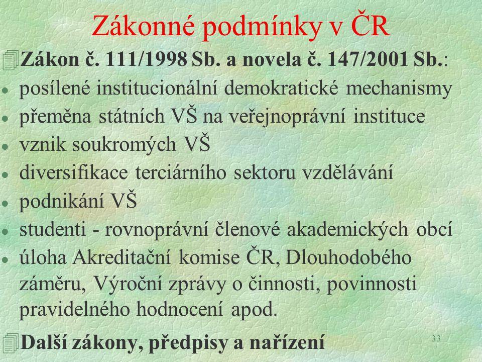 33 Zákonné podmínky v ČR 4Zákon č. 111/1998 Sb. a novela č. 147/2001 Sb.: l posílené institucionální demokratické mechanismy l přeměna státních VŠ na