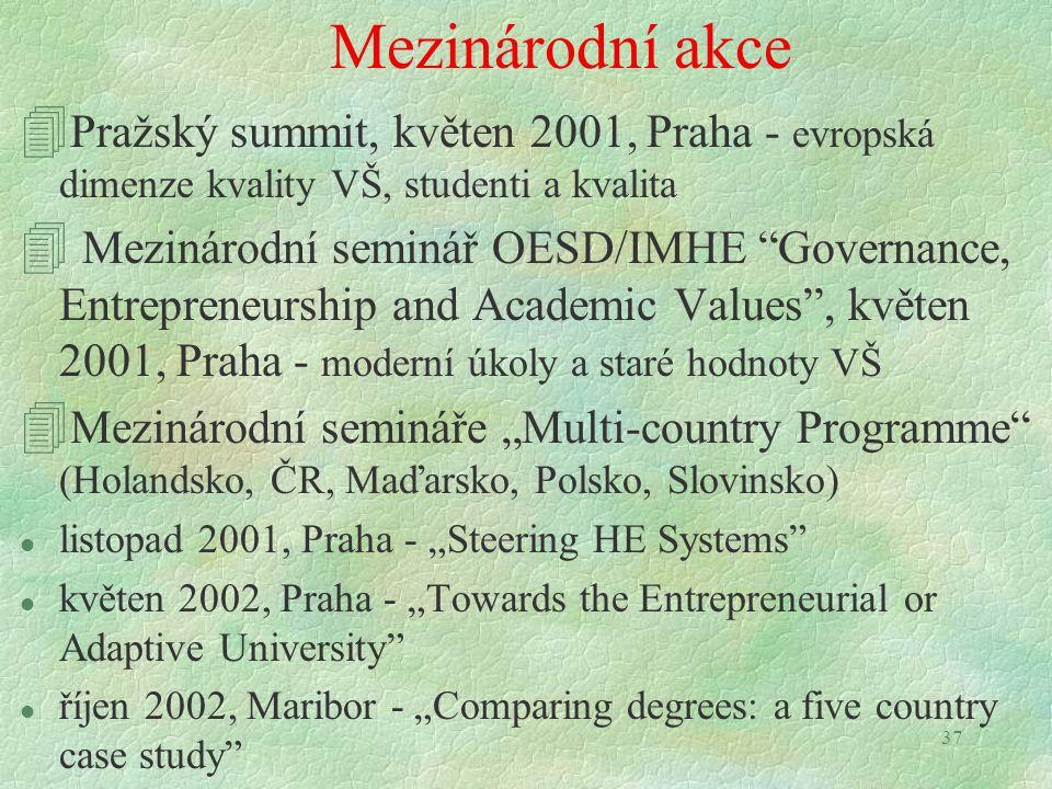 """37 Mezinárodní akce 4 Pražský summit, květen 2001, Praha - evropská dimenze kvality VŠ, studenti a kvalita 4 Mezinárodní seminář OESD/IMHE """"Governance"""