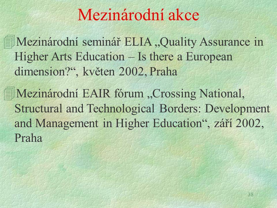 """38 Mezinárodní akce 4 Mezinárodní seminář ELIA """"Quality Assurance in Higher Arts Education – Is there a European dimension?"""", květen 2002, Praha 4 Mez"""