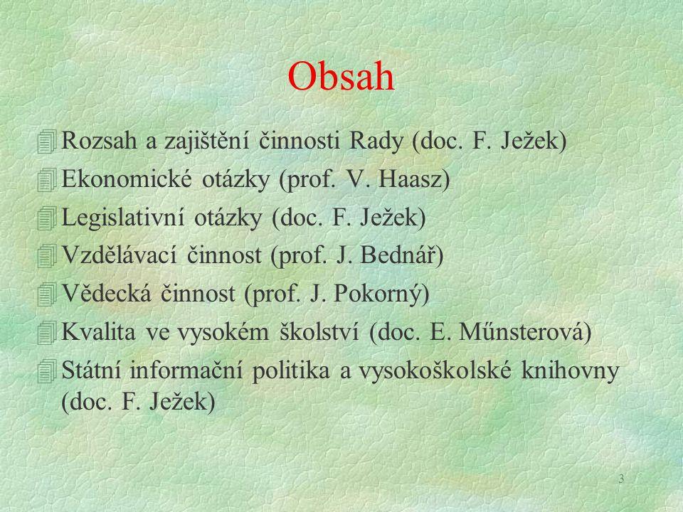3 Obsah 4Rozsah a zajištění činnosti Rady (doc. F. Ježek) 4Ekonomické otázky (prof. V. Haasz) 4Legislativní otázky (doc. F. Ježek) 4Vzdělávací činnost