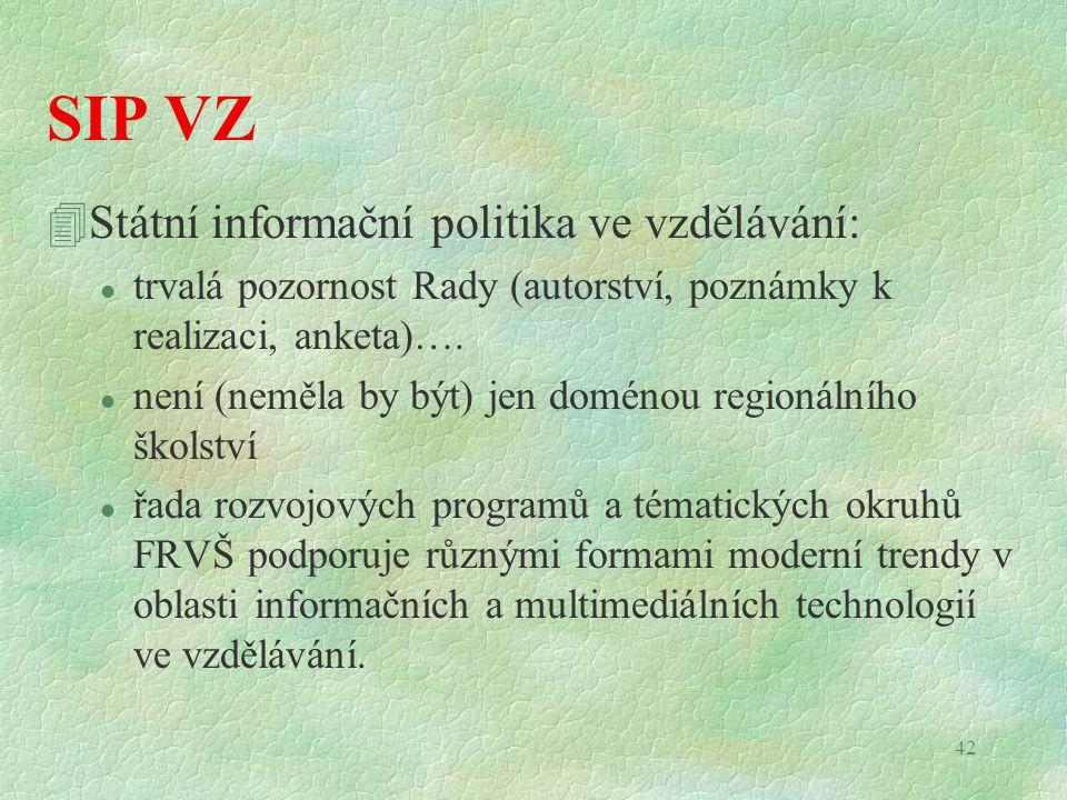 42 SIP VZ 4Státní informační politika ve vzdělávání: l trvalá pozornost Rady (autorství, poznámky k realizaci, anketa)…. l není (neměla by být) jen do