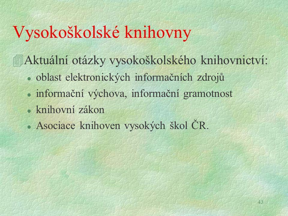 43 Vysokoškolské knihovny 4Aktuální otázky vysokoškolského knihovnictví: l oblast elektronických informačních zdrojů l informační výchova, informační gramotnost l knihovní zákon l Asociace knihoven vysokých škol ČR.