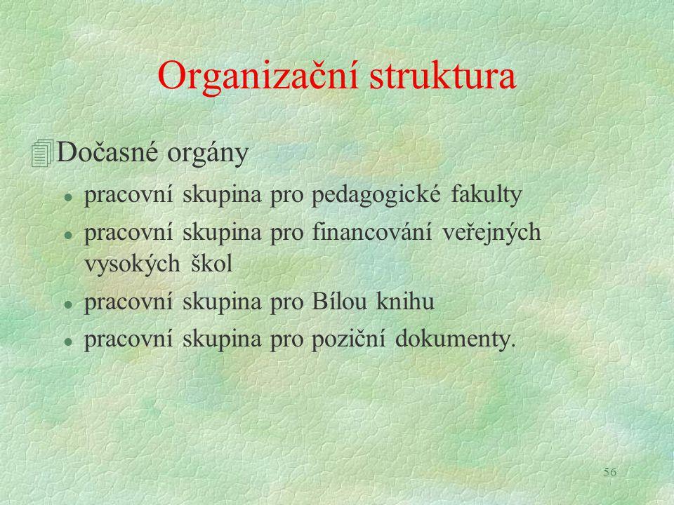 56 Organizační struktura 4Dočasné orgány l pracovní skupina pro pedagogické fakulty l pracovní skupina pro financování veřejných vysokých škol l pracovní skupina pro Bílou knihu l pracovní skupina pro poziční dokumenty.