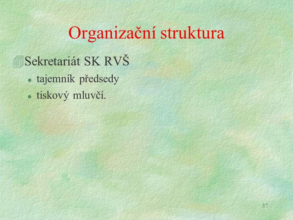 57 Organizační struktura 4Sekretariát SK RVŠ l tajemník předsedy l tiskový mluvčí.