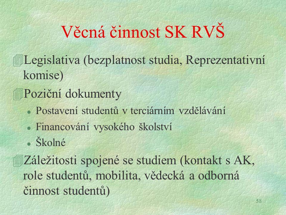 58 Věcná činnost SK RVŠ 4Legislativa (bezplatnost studia, Reprezentativní komise) 4Poziční dokumenty l Postavení studentů v terciárním vzdělávání l Fi