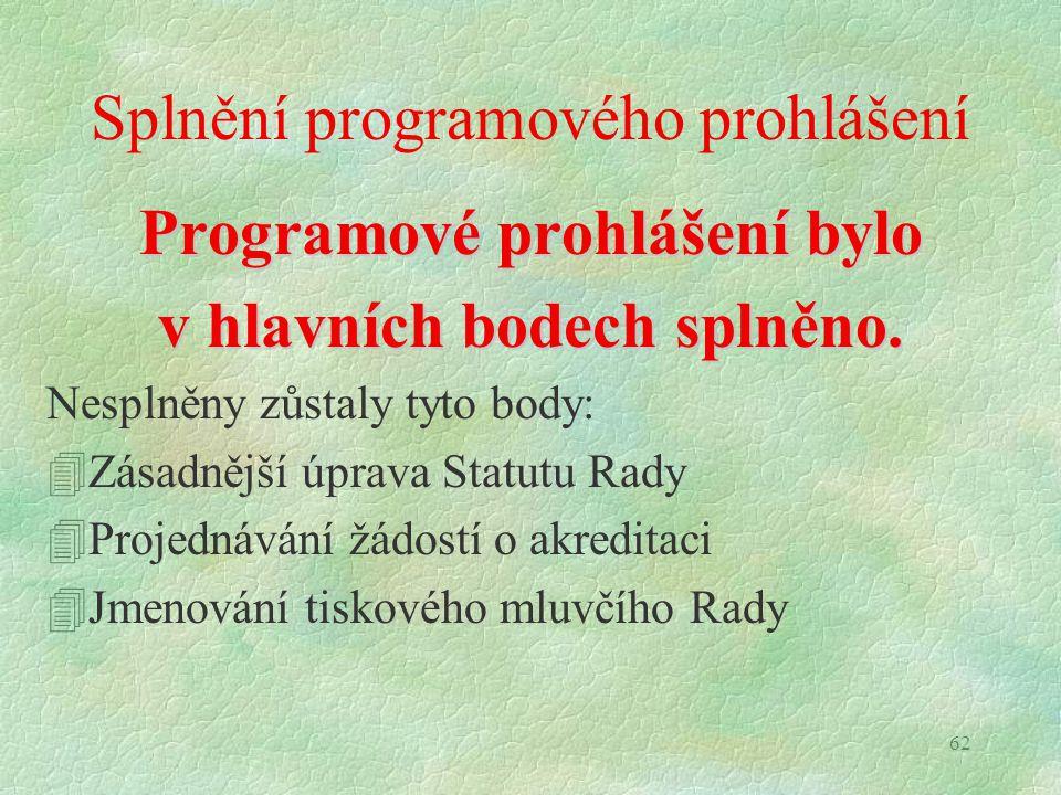 62 Splnění programového prohlášení Programové prohlášení bylo v hlavních bodech splněno. Nesplněny zůstaly tyto body: 4Zásadnější úprava Statutu Rady