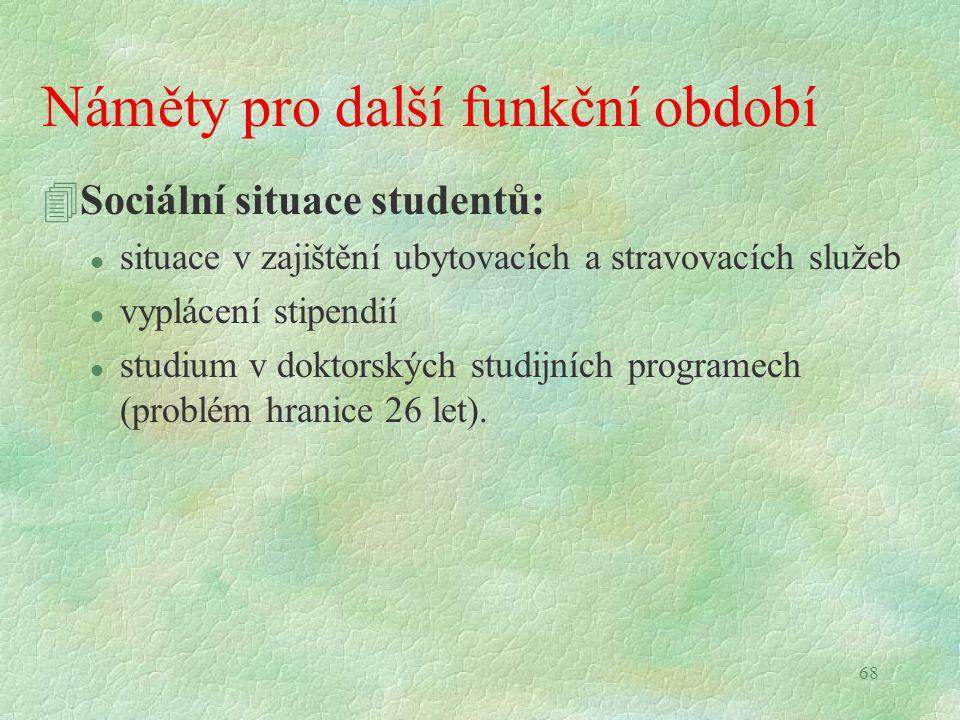 68 Náměty pro další funkční období 4Sociální situace studentů: l situace v zajištění ubytovacích a stravovacích služeb l vyplácení stipendií l studium