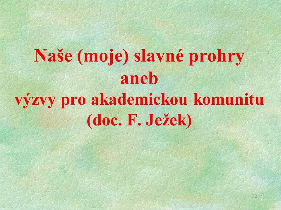 72 Naše (moje) slavné prohry aneb výzvy pro akademickou komunitu (doc. F. Ježek)