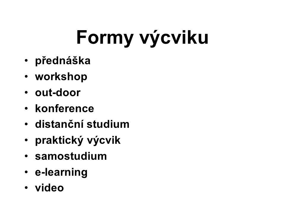 Formy výcviku přednáška workshop out-door konference distanční studium praktický výcvik samostudium e-learning video