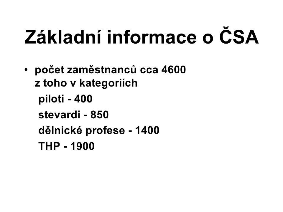 Základní informace o ČSA počet zaměstnanců cca 4600 z toho v kategoriích piloti - 400 stevardi - 850 dělnické profese - 1400 THP - 1900