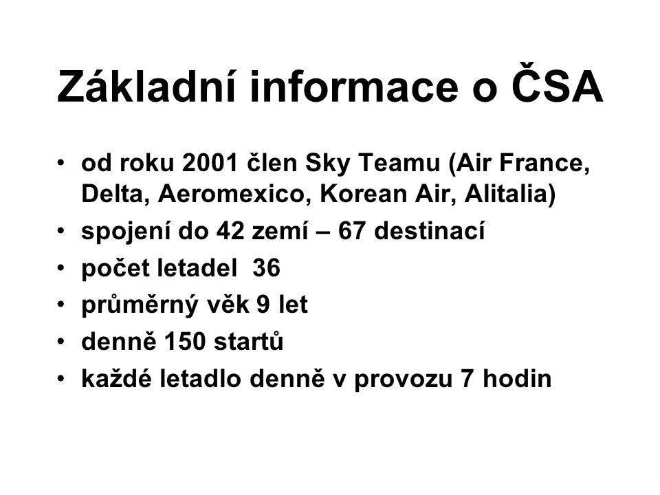 Základní informace o ČSA od roku 2001 člen Sky Teamu (Air France, Delta, Aeromexico, Korean Air, Alitalia) spojení do 42 zemí – 67 destinací počet let