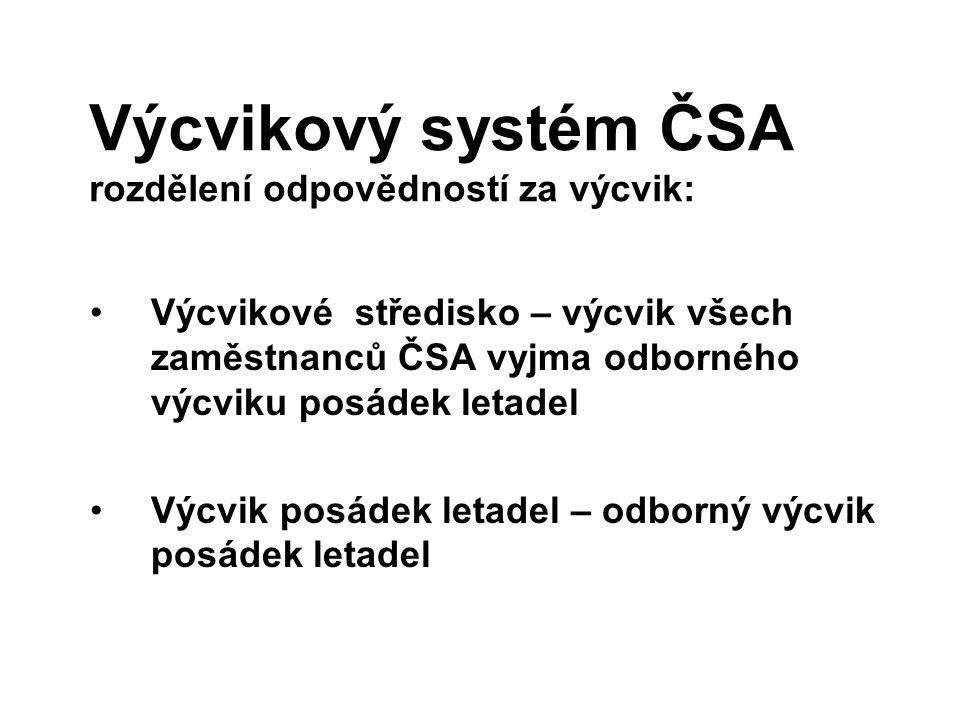 Výcvikový systém ČSA rozdělení odpovědností za výcvik: Výcvikové středisko – výcvik všech zaměstnanců ČSA vyjma odborného výcviku posádek letadel Výcv