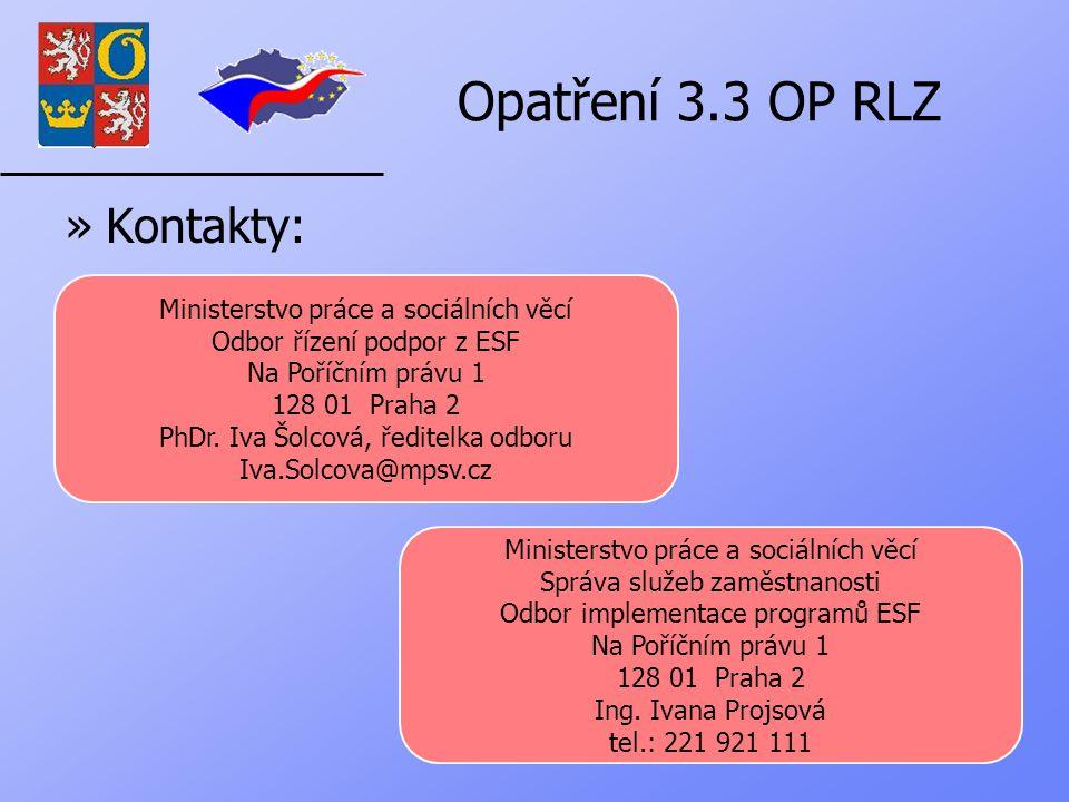 Opatření 3.3 OP RLZ »Kontakty: Ministerstvo práce a sociálních věcí Odbor řízení podpor z ESF Na Poříčním právu 1 128 01 Praha 2 PhDr.