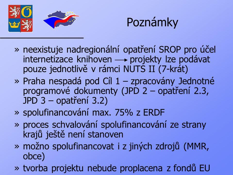 Poznámky »neexistuje nadregionální opatření SROP pro účel internetizace knihoven projekty lze podávat pouze jednotlivě v rámci NUTS II (7-krát) »Praha nespadá pod Cíl 1 – zpracovány Jednotné programové dokumenty (JPD 2 – opatření 2.3, JPD 3 – opatření 3.2) »spolufinancování max.