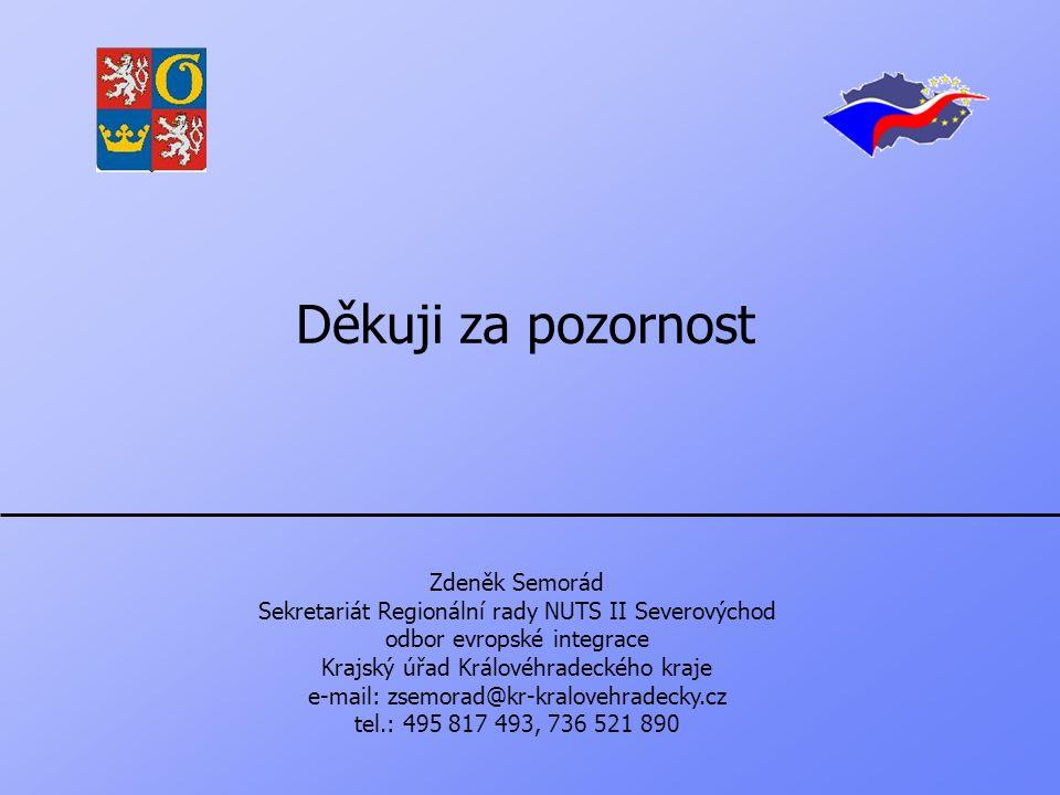 Děkuji za pozornost Zdeněk Semorád Sekretariát Regionální rady NUTS II Severovýchod odbor evropské integrace Krajský úřad Královéhradeckého kraje e-mail: zsemorad@kr-kralovehradecky.cz tel.: 495 817 493, 736 521 890