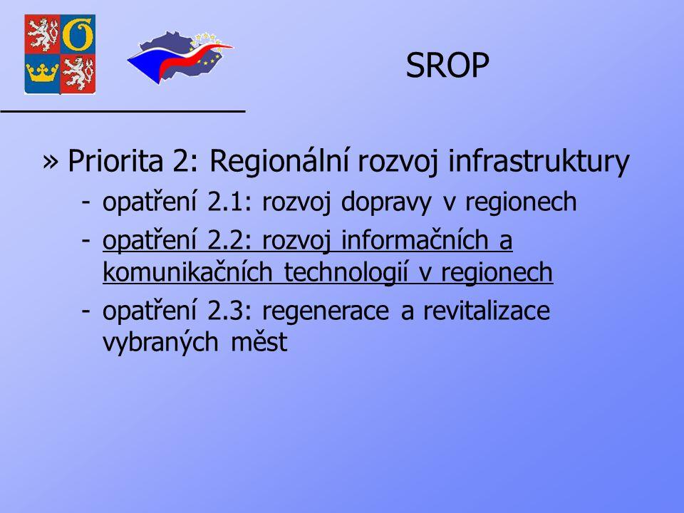SROP »Priorita 2: Regionální rozvoj infrastruktury -opatření 2.1: rozvoj dopravy v regionech -opatření 2.2: rozvoj informačních a komunikačních technologií v regionech -opatření 2.3: regenerace a revitalizace vybraných měst