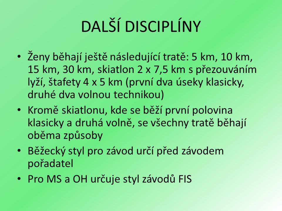 DALŠÍ DISCIPLÍNY Ženy běhají ještě následující tratě: 5 km, 10 km, 15 km, 30 km, skiatlon 2 x 7,5 km s přezouváním lyží, štafety 4 x 5 km (první dva úseky klasicky, druhé dva volnou technikou) Kromě skiatlonu, kde se běží první polovina klasicky a druhá volně, se všechny tratě běhají oběma způsoby Běžecký styl pro závod určí před závodem pořadatel Pro MS a OH určuje styl závodů FIS