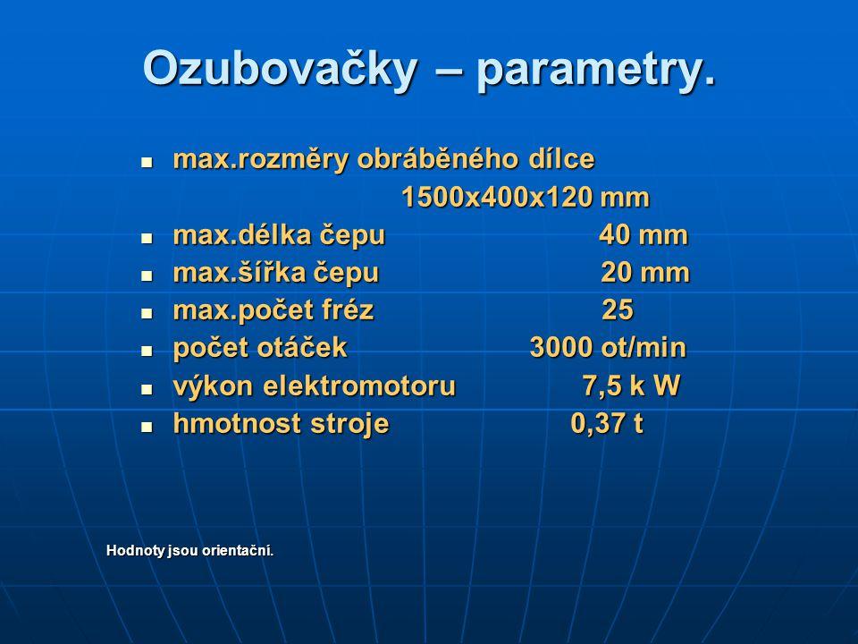 Ozubovačky – parametry. max.rozměry obráběného dílce max.rozměry obráběného dílce 1500x400x120 mm 1500x400x120 mm max.délka čepu 40 mm max.délka čepu