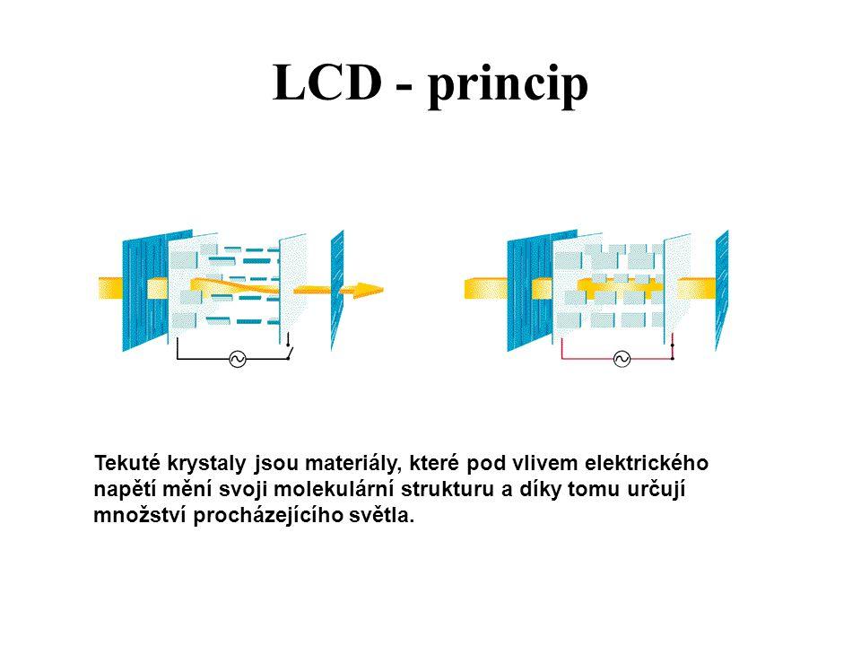 LCD - princip Tekuté krystaly jsou materiály, které pod vlivem elektrického napětí mění svoji molekulární strukturu a díky tomu určují množství procházejícího světla.