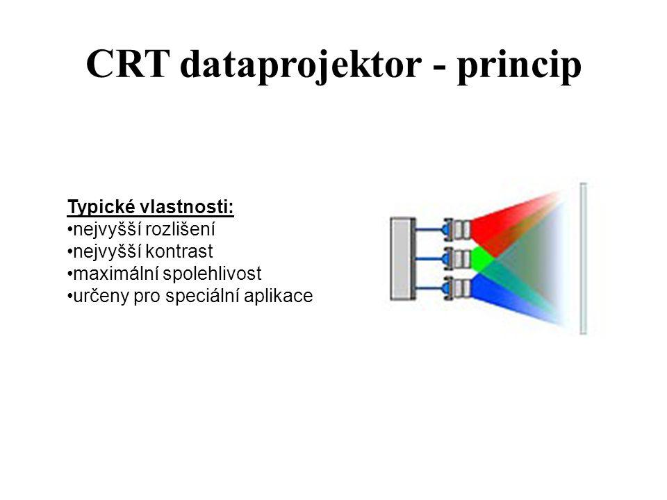 CRT dataprojektor - princip Typické vlastnosti: nejvyšší rozlišení nejvyšší kontrast maximální spolehlivost určeny pro speciální aplikace