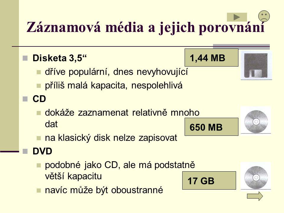 """Záznamová média a jejich porovnání Disketa 3,5"""" dříve populární, dnes nevyhovující příliš malá kapacita, nespolehlivá CD dokáže zaznamenat relativně m"""