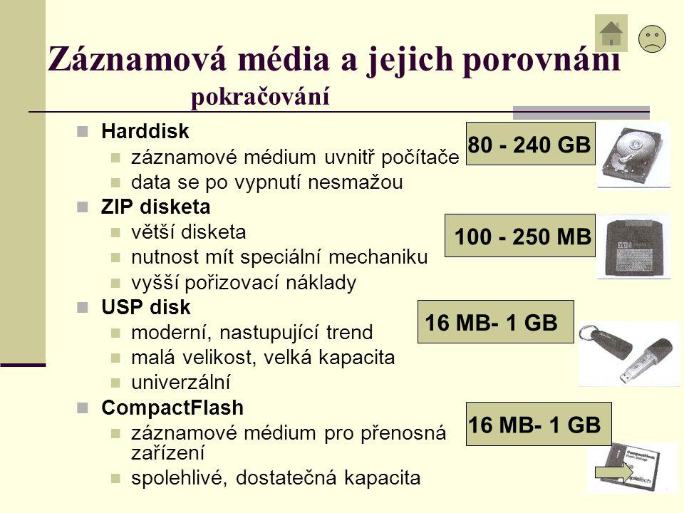 16 MB- 1 GB Záznamová média a jejich porovnání pokračování Harddisk záznamové médium uvnitř počítače data se po vypnutí nesmažou ZIP disketa větší dis
