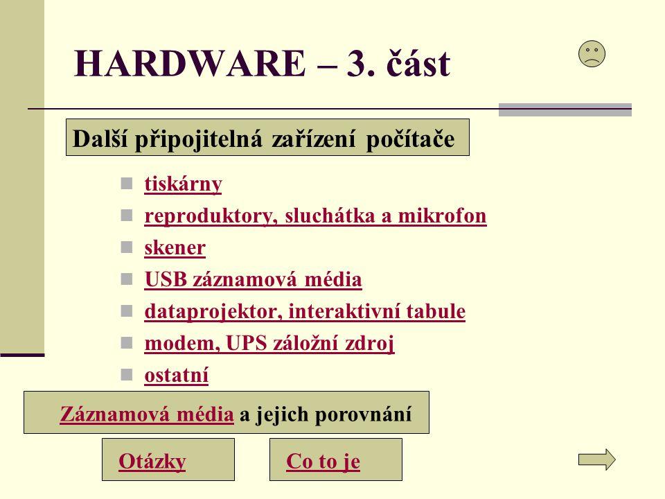 HARDWARE – 3. část Další připojitelná zařízení počítače tiskárny reproduktory, sluchátka a mikrofon skener USB záznamová média dataprojektor, interakt