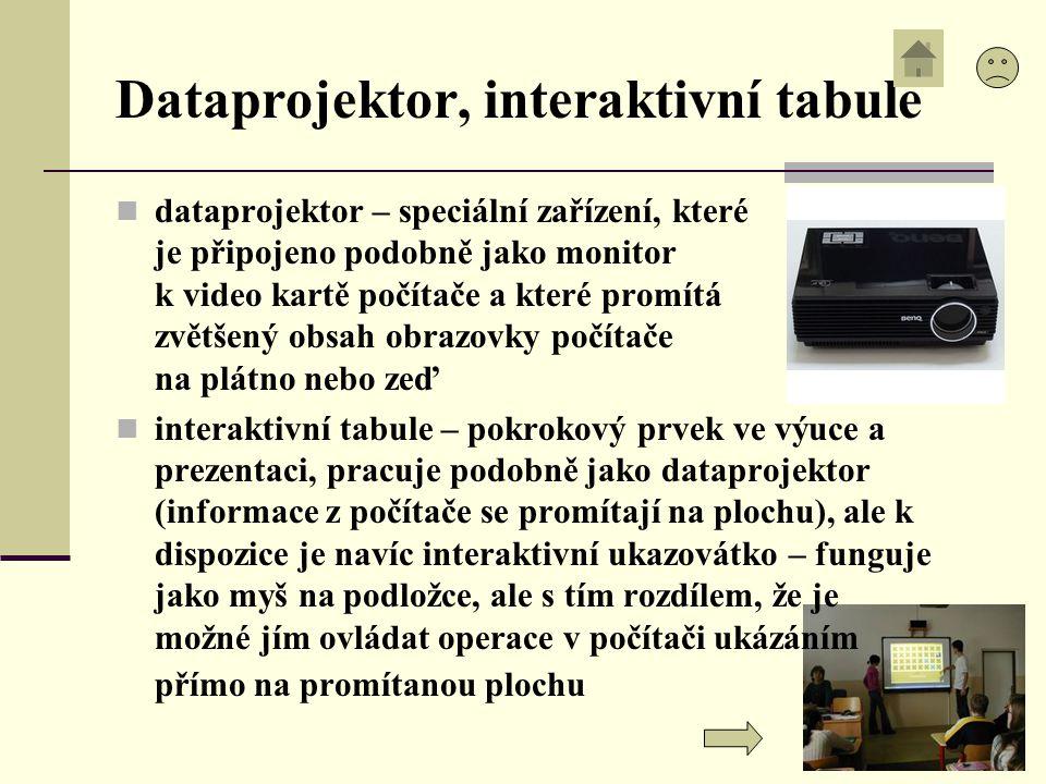 Dataprojektor, interaktivní tabule dataprojektor – speciální zařízení, které je připojeno podobně jako monitor k video kartě počítače a které promítá