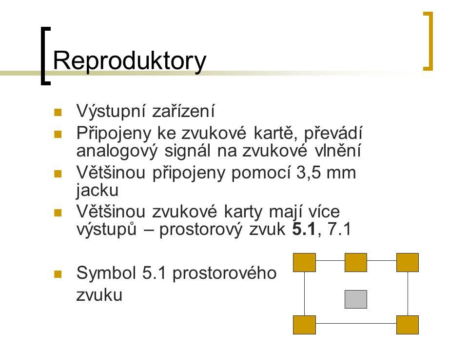 Reproduktory Výstupní zařízení Připojeny ke zvukové kartě, převádí analogový signál na zvukové vlnění Většinou připojeny pomocí 3,5 mm jacku Většinou zvukové karty mají více výstupů – prostorový zvuk 5.1, 7.1 Symbol 5.1 prostorového zvuku