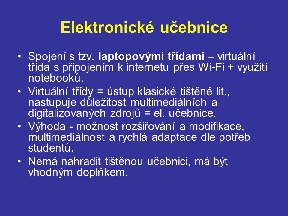 Elektronické učebnice Spojení s tzv.