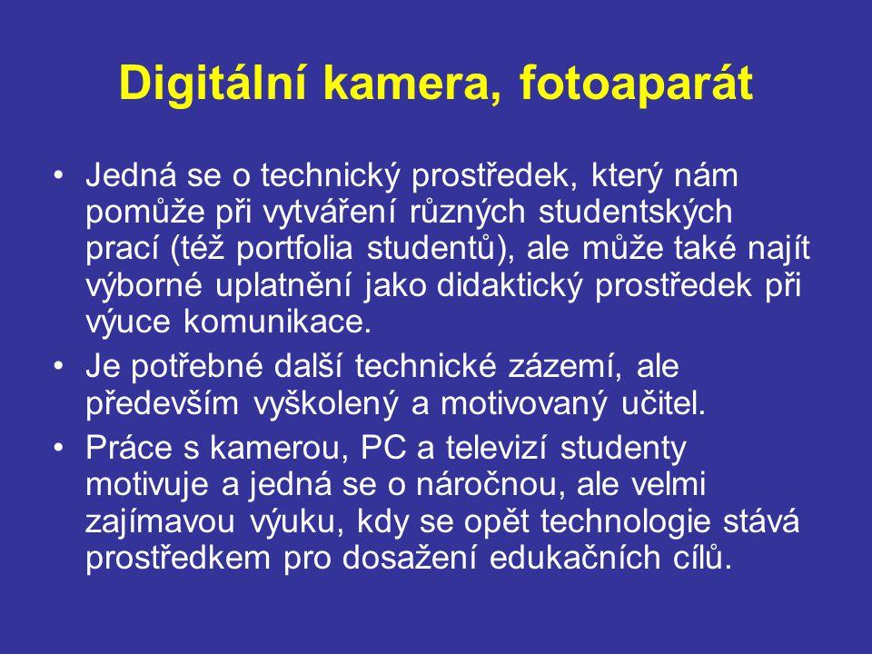 Digitální kamera, fotoaparát Jedná se o technický prostředek, který nám pomůže při vytváření různých studentských prací (též portfolia studentů), ale může také najít výborné uplatnění jako didaktický prostředek při výuce komunikace.