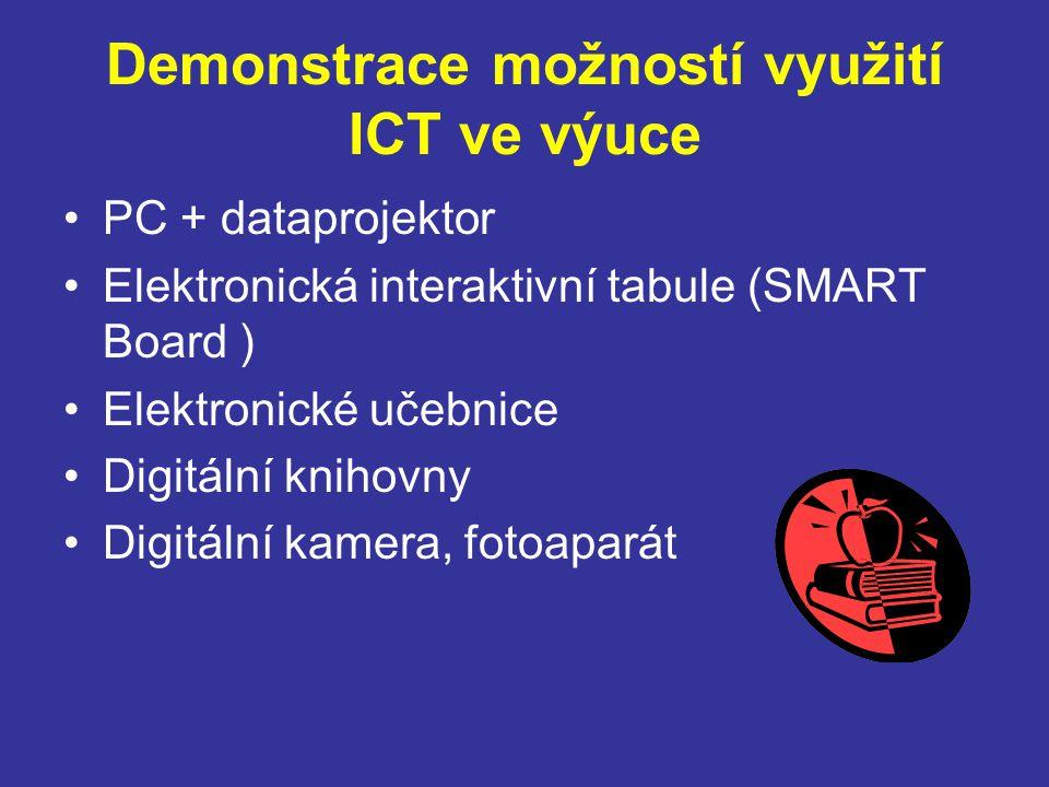 Demonstrace možností využití ICT ve výuce PC + dataprojektor Elektronická interaktivní tabule (SMART Board ) Elektronické učebnice Digitální knihovny Digitální kamera, fotoaparát