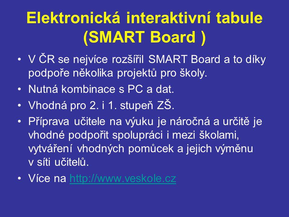 Elektronická interaktivní tabule (SMART Board ) V ČR se nejvíce rozšířil SMART Board a to díky podpoře několika projektů pro školy.
