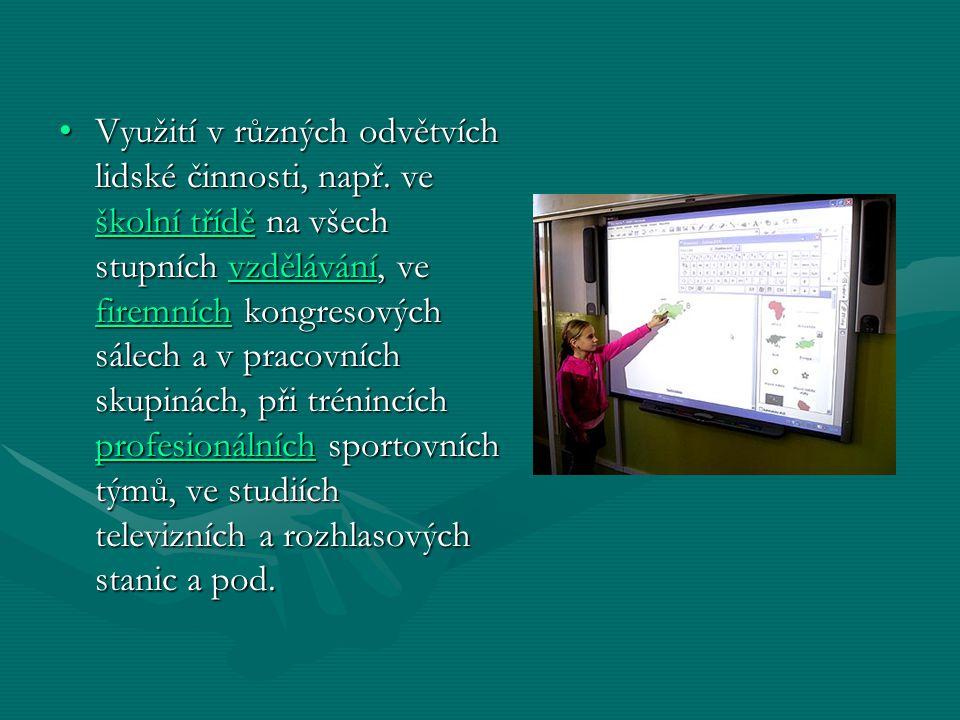 Používání interaktivní tabule zahrnuje:Používání interaktivní tabule zahrnuje: software, který běží na připojeném počítači, včetně internetového prohlížeče nebo i software chráněného copyrightemsoftware, který běží na připojeném počítači, včetně internetového prohlížeče nebo i software chráněného copyrightemsoftwareinternetového prohlížečecopyrightemsoftwareinternetového prohlížečecopyrightem použití software pro ukládání poznámek napsaných na plochu interaktivní tabulepoužití software pro ukládání poznámek napsaných na plochu interaktivní tabule ovládání počítače (klikání a přetahování myší), označování a s použitím speciálního software dokonce i k rozpoznání psaného textuovládání počítače (klikání a přetahování myší), označování a s použitím speciálního software dokonce i k rozpoznání psaného textuklikání označováníklikání označování Ovladač převádí data za pomocí prstem na tabuli na signály, které zastupují kliknutí a pohyb myši nebo tabletu.Ovladač převádí data za pomocí prstem na tabuli na signály, které zastupují kliknutí a pohyb myši nebo tabletu.