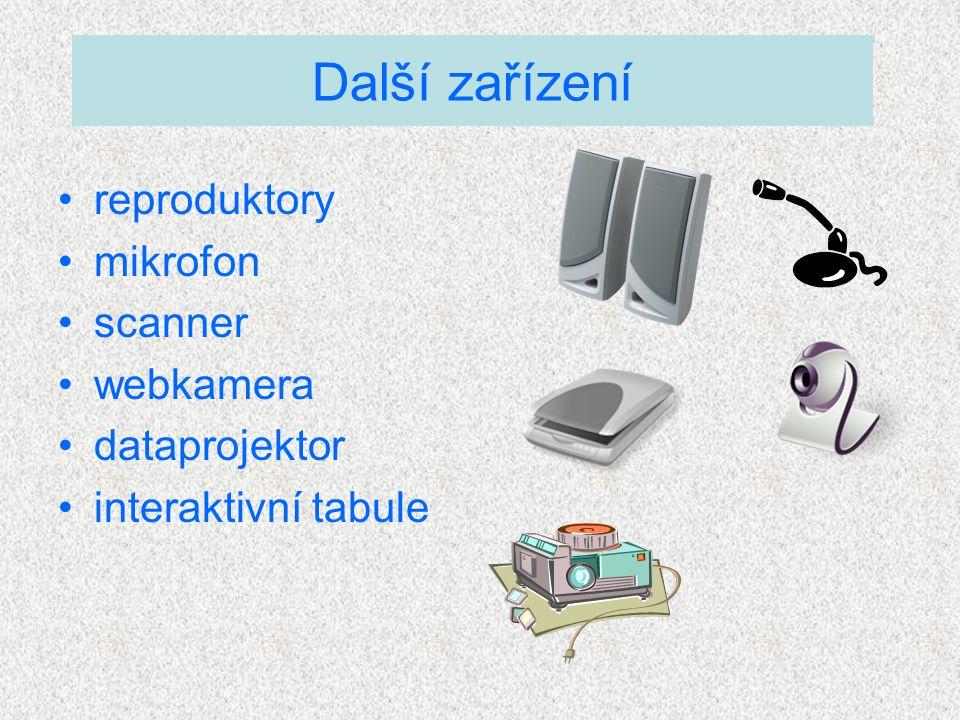 reproduktory mikrofon scanner webkamera dataprojektor interaktivní tabule Další zařízení