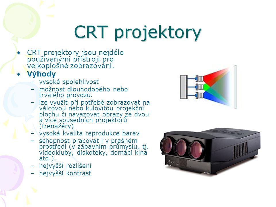 CRT projektory CRT projektory jsou nejdéle používanými přístroji pro velkoplošné zobrazování.