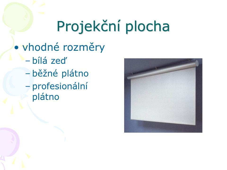 Projekční plocha vhodné rozměry –bílá zeď –běžné plátno –profesionální plátno