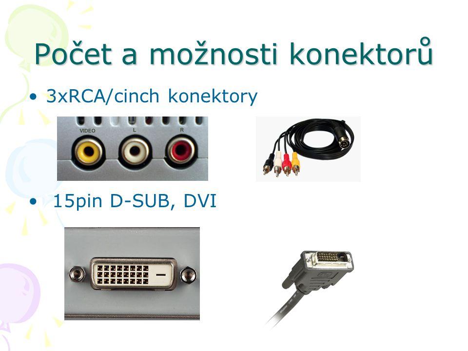 Počet a možnosti konektorů 3xRCA/cinch konektory 15pin D-SUB, DVI
